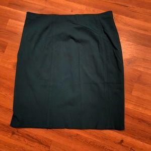 Ann taylor skirt, dark green , petite 16